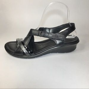 ECCO black leather strappy wedge sandals